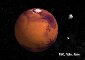 The Planet Mars with Phobos and Deimos