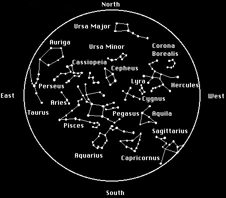 november constellations in the night sky with star map outer