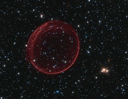 Giant Red Gas Bubble in Space
