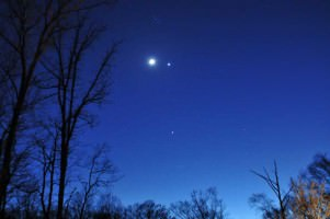 Jupiter, Venus, the Moon and the Pleiades