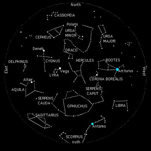 Map Of Constellations Northern Hemisphere Summer July Constellations With Star Charts
